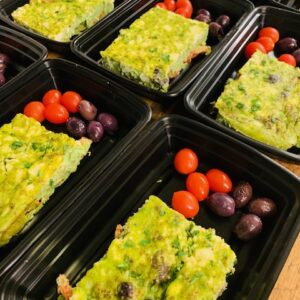 Greek Frittata with tomatoes and olives